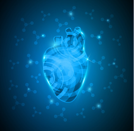 Abstract human heart of gears and molecules at the background, deep blue gradient color