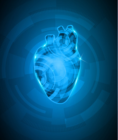 deep blue: Abstact heart mechanism, beautiful deep blue color