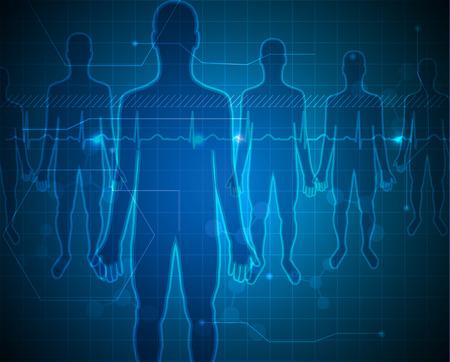 사람들은 파란색 배경 실루엣, 의료 기술 개념