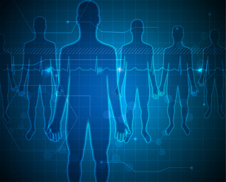 People silhouette blue background, medical technology concept Illustration