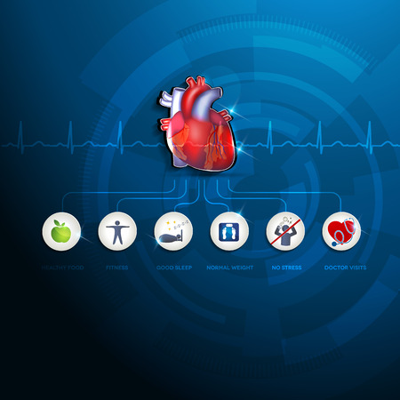 Healthy heart info graphic. Healthy food, fitness, no stress, good sleep and healthy weight leads to healthy heart. Beautiful deep blue background and colorful realistic heart illustration. Illustration