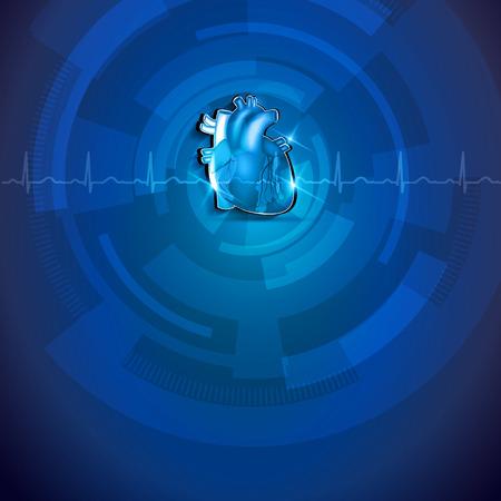 heart surgery: Human heart anatomy, blue cardiogram background. Heart health care.