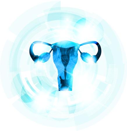 抽象的な青の色の女性の子宮。バック グラウンドで軽い青いギヤ