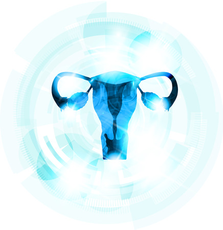 Abstract blauwe kleur vrouwelijke baarmoeder. Licht blauwe tandwiel op de achtergrond