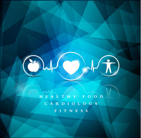 cardiologist: Health icons on a bright blue geometric background