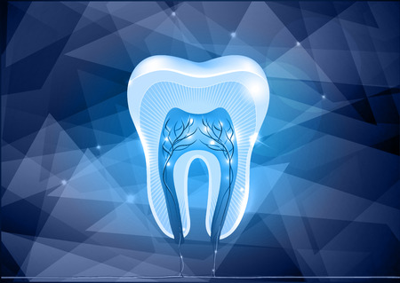 Tooth cross section design, abstract blue background Illustration