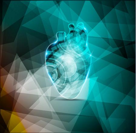 Beautiful cardiology background, abstract human heart anatomy Vector