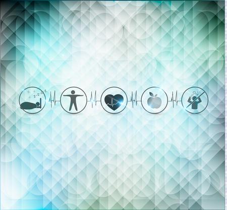 buen vivir: Concepto de vida saludable, fondo cardiología. La comida sana, gimnasio, sin estrés, peso saludable, dormir bien conduce a la salud del corazón. Símbolos relacionados con la línea de los latidos del corazón.