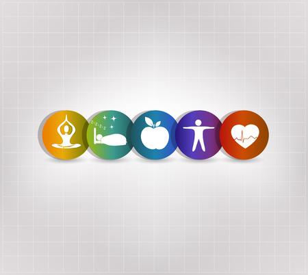 Gezond leven concept symbool set. Gezonde voeding, fitness, geen stress, gezond gewicht, doktersbezoeken, goede slaap leidt tot een gezonde hart en leven. Stock Illustratie