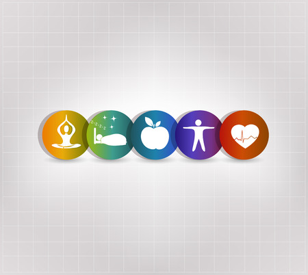 Healthy living concept symbol set. Healthy food, fitness, no stress, healthy weight, doctor visits, good sleep leads to healthy heart and life.