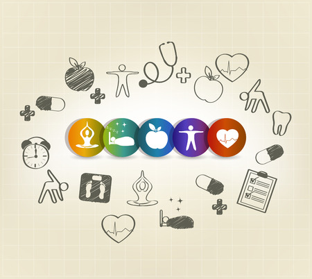 Health care symbol set, hand drawn illustrations. Healthy food, fitness, no stress, healthy weight, doctor visits, good sleep leads to healthy heart and life.