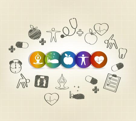 Les soins de santé symbole ensemble, illustrations dessinées à la main. Une alimentation saine, fitness, pas de stress, le poids santé, visites chez le médecin, un bon sommeil conduit à c?ur et la vie saine. Illustration