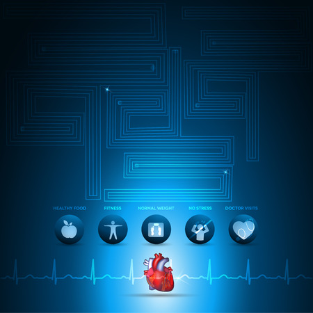 Heart health care info graphic, health care technology. Healthy food, fitness, no stress and healthy weight leads to healthy heart. Deep blue background and colorful realistic heart illustration. Vector