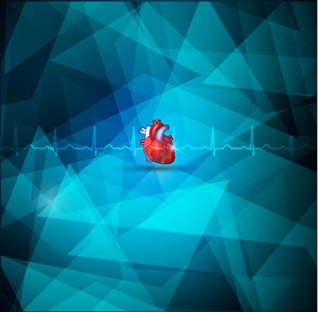 Heart amatomy and Geometric shape cardiologry background Vector