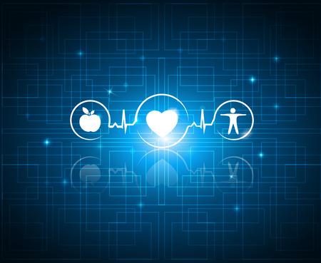 alimentacion sana: S�mbolos de vida sanos en un fondo de tecnolog�a. S�mbolos de cuidado de la salud relacionados con la cardiolog�a coraz�n lata ritmo. La comida sana y fitness conduce a coraz�n y la vida saludable.