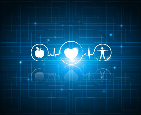 Healthy living symbols on a technology background. Cardiology health care symbols connected with heart beat rhythm. Healthy food and fitness leads to healthy heart and life.
