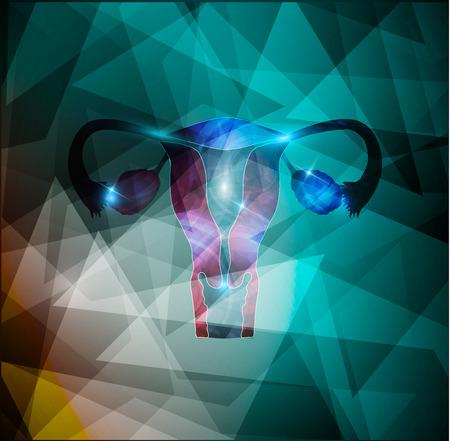 ovarios: Mujer �tero y los ovarios en un fondo geom�trico colorido, ejemplo m�dico abstracto.