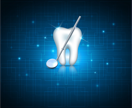 Teeth with mirror on a abstract technology background Illustration