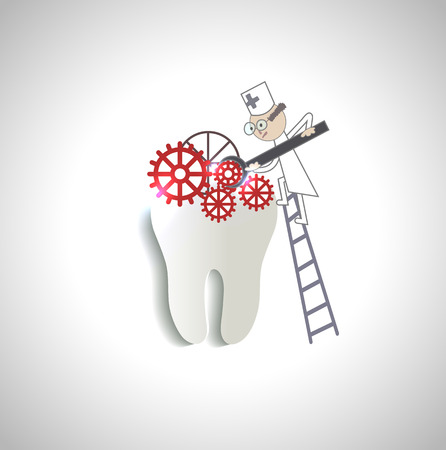 teeth white: Doctor treats tooth abstract illustration
