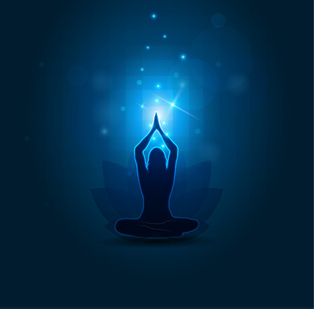 Woman Yoga and meditation, beautiful blue abstract background Vettoriali