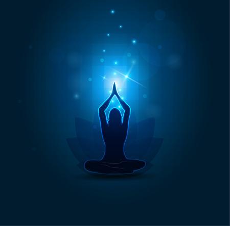 mindfulness: Vrouw die yoga en meditatie, mooie blauwe abstracte achtergrond Stock Illustratie