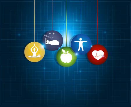 Gezond leven ronde symbolen. Gezonde voeding, fitness, geen stress en gezond gewicht leidt tot een gezond hart en leven. Stock Illustratie