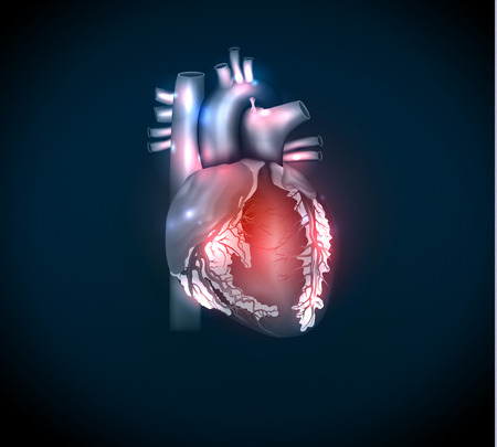 infarct: Bright human heart on a blue background Illustration