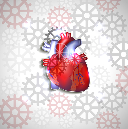 atherosclerosis: Heart anatomy on a abstract gears background Illustration