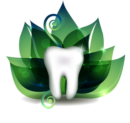tratment: White tooth and bright green leafs at the background