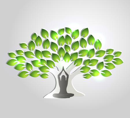 治癒: ヨガ瞑想。女性の木の前で瞑想します。