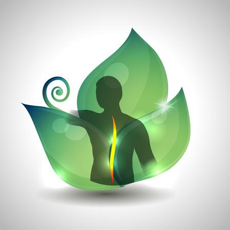 脊椎: 人間の背骨ヘルスケア、人間の背骨のシルエットと、バック グラウンドで緑の葉。  イラスト・ベクター素材
