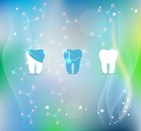 dental research: Teeth treatment symbol set on a beautiful blue molecules background