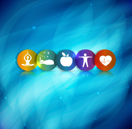 Healthy lifestyle symbol background. Healthy food and fitness leads to healthy heart. Beautiful blue abstract background. Vettoriali