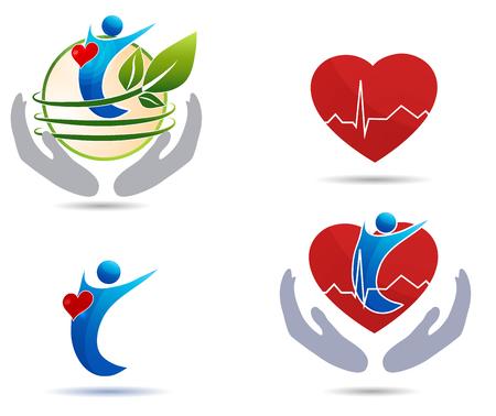 Iconos de tratamiento de la enfermedad cardiovascular, corazón sano y humano sano Foto de archivo - 34382249