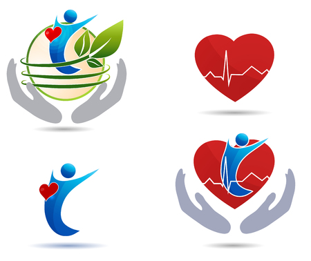 Cardiovascular disease treatment icons, healthy heart and healthy human