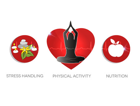 Healthy living advice symbols. Stress handling, physical activities and healthy diet. Illustration