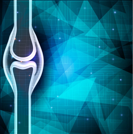 break joints: Human joint anatomy abstract background. Beautiful blue background with abstract shapes.