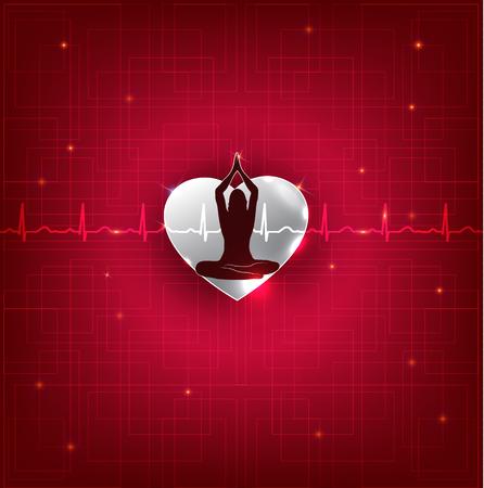Frau meditieren auf der Vorderseite des Herzens schlagen normalen Herzüberwachungsleitung im Hintergrund, schön leuchtend rote Farbe.