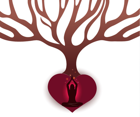 Woman meditate under the big tree in the abstract roots of heart shape. White background