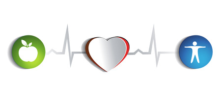 Healthy heart of paper and healthy life style symbols connected with normal heart beat rhythm