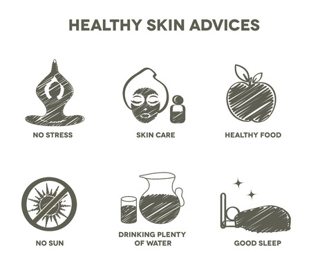 Healthy skin advices symbol collection. Hand drawn design. Vector