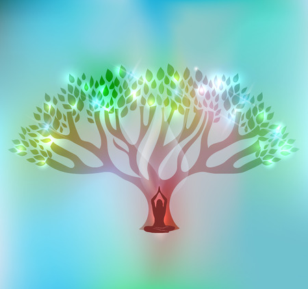 Big tree and woman at the front of the tree with sparkling leafs. Beautiful light blue mesh background. Stock Illustratie