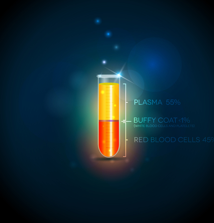 Test tube with blood cells, plasma, buffy coat and red blood cells. Abstract dark blue background.