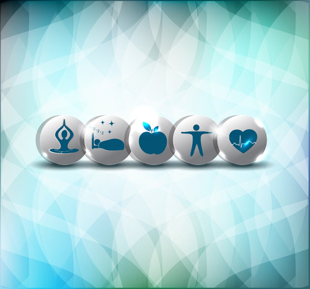 Healthy life style advices symbols. Healthy food, fitness, no stress and good sleep leads to healthy heart and life. Illustration