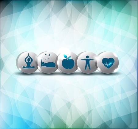 life style: Style de vie sain conseille symboles. Une alimentation saine, fitness, pas de stress et un bon sommeil conduit � c?ur et la vie saine.