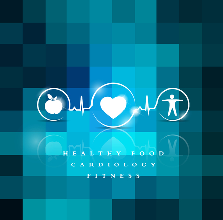 Exercise, healthy diet and Cardiovascular Health symbols connected with heart beat line Vector