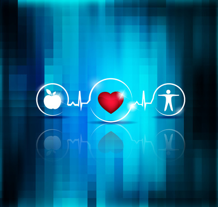 Physical activity and healthy diet prevents heart disease and stroke, symbols connected with heart beat line Illustration