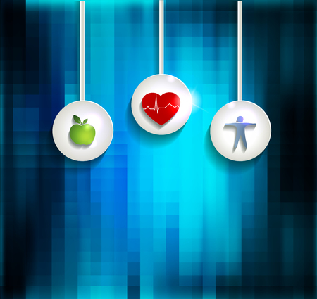 Exercise, healthy diet and Cardiovascular Health symbols on abright blue abstract background Vector