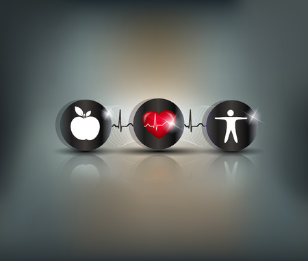 Exercise, healthy diet and Cardiovascular Health symbols connected with heart beat line. Stroke prevention.