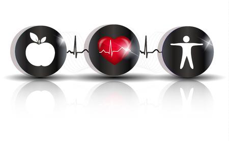 Lichaamsbeweging, gezonde voeding en cardiovasculaire gezondheid symbolen verbonden met hartslag lijn. Adviezen aan hart-en vaatziekten en beroerte te voorkomen.